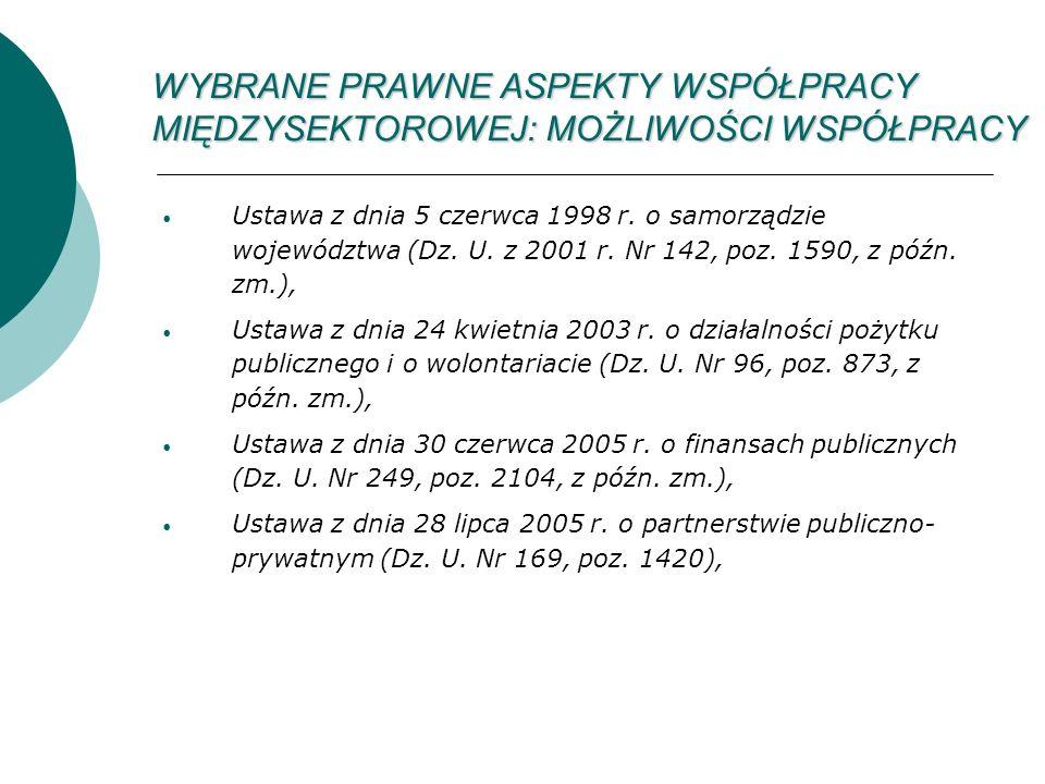WYBRANE PRAWNE ASPEKTY WSPÓŁPRACY MIĘDZYSEKTOROWEJ: MOŻLIWOŚCI WSPÓŁPRACY Ustawa z dnia 5 czerwca 1998 r.
