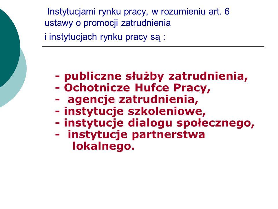 Instytucjami rynku pracy, w rozumieniu art. 6 ustawy o promocji zatrudnienia i instytucjach rynku pracy są : - publiczne służby zatrudnienia, - Ochotn