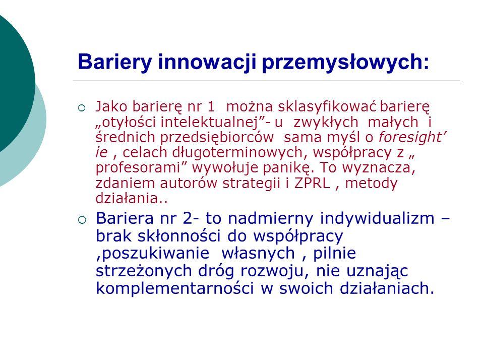 Bariery innowacji przemysłowych: Jako barierę nr 1 można sklasyfikować barierę otyłości intelektualnej- u zwykłych małych i średnich przedsiębiorców s
