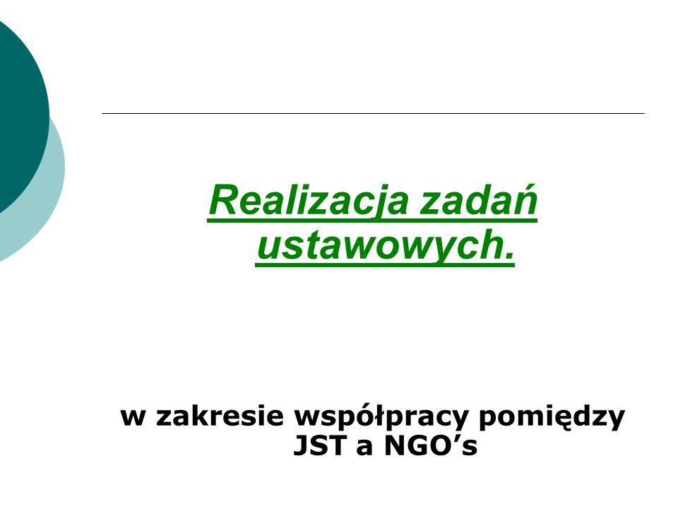 Realizacja zadań ustawowych. w zakresie współpracy pomiędzy JST a NGOs