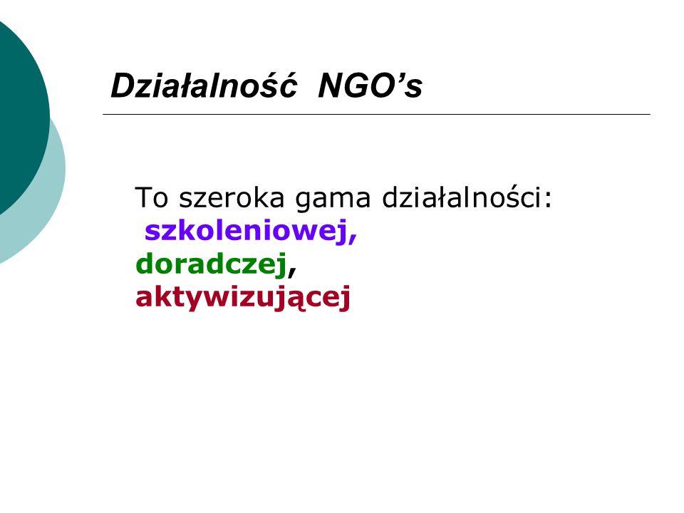 Działalność NGOs To szeroka gama działalności: szkoleniowej, doradczej, aktywizującej