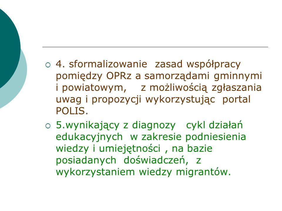 4. sformalizowanie zasad współpracy pomiędzy OPRz a samorządami gminnymi i powiatowym, z możliwością zgłaszania uwag i propozycji wykorzystując portal