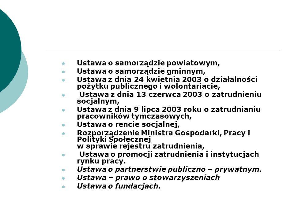 Ustawa o samorządzie powiatowym, Ustawa o samorządzie gminnym, Ustawa z dnia 24 kwietnia 2003 o działalności pożytku publicznego i wolontariacie, Usta