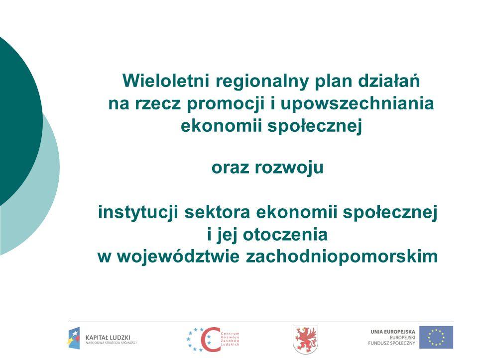 Wieloletni regionalny plan działań na rzecz promocji i upowszechniania ekonomii społecznej oraz rozwoju instytucji sektora ekonomii społecznej i jej o