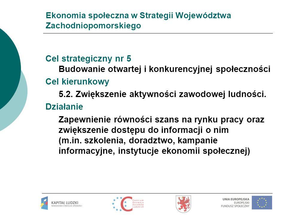 Ekonomia społeczna w Strategii Województwa Zachodniopomorskiego Cel strategiczny nr 6 Wzrost tożsamości i spójności społecznej Cel kierunkowy 6.6 Przeciwdziałanie ubóstwu i procesom marginalizacji.