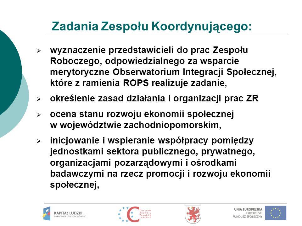 Zadania Zespołu Koordynującego: wyznaczenie przedstawicieli do prac Zespołu Roboczego, odpowiedzialnego za wsparcie merytoryczne Obserwatorium Integra