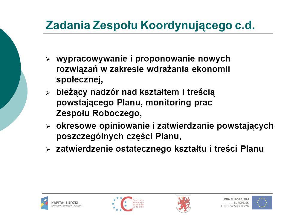 Zadania Zespołu Koordynującego c.d. wypracowywanie i proponowanie nowych rozwiązań w zakresie wdrażania ekonomii społecznej, bieżący nadzór nad kształ