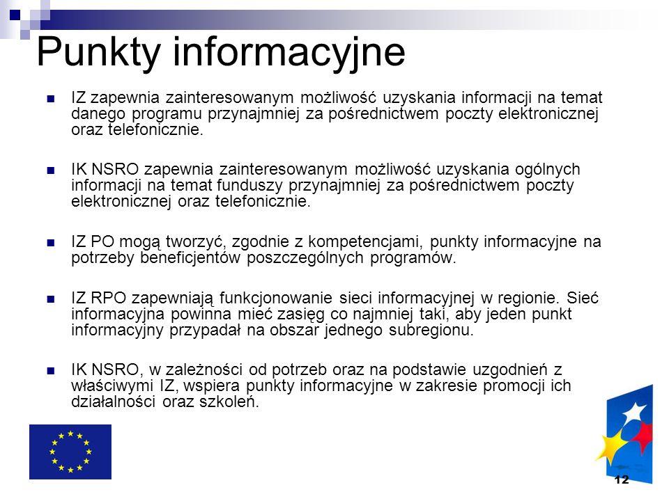 12 Punkty informacyjne IZ zapewnia zainteresowanym możliwość uzyskania informacji na temat danego programu przynajmniej za pośrednictwem poczty elektr