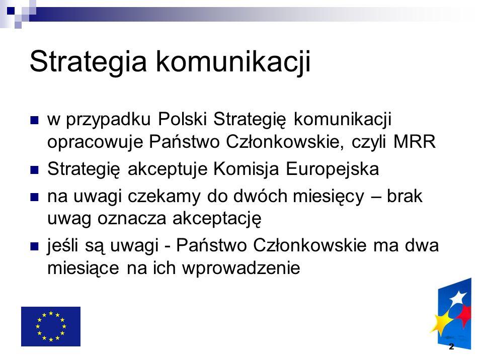 2 Strategia komunikacji w przypadku Polski Strategię komunikacji opracowuje Państwo Członkowskie, czyli MRR Strategię akceptuje Komisja Europejska na