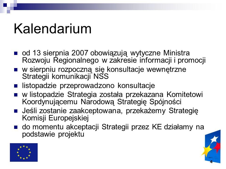 5 Cel Strategii komunikacji (projekt) Celem strategicznym działań informacyjnych i promocyjnych jest wspieranie realizacji celów określonych w Narodowej Strategii Spójności przez zachęcanie potencjalnych beneficjentów do korzystania z Funduszy Europejskich dzięki dostarczaniu im informacji niezbędnych w procesie ubiegania się o środki unijne, motywowanie projektodawców do właściwej realizacji projektów oraz kształtowanie świadomości społeczeństwa w zakresie postępów realizacji Narodowej Strategii Spójności oraz efektów wykorzystywania Funduszy Europejskich w Polsce.