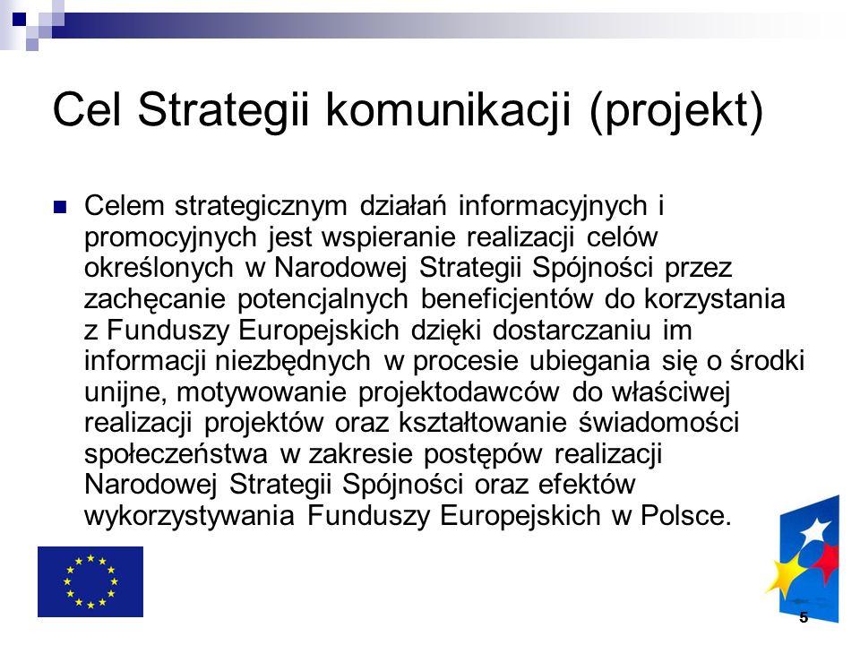 6 Cele operacyjne Strategii dostarczanie opinii publicznej wiedzy ogólnej w zakresie europejskiej polityki spójności, a w szczególności jej bezpośredniego związku z celami rozwojowymi kraju; budowanie społecznego poparcia i zaangażowania obywateli w realizację celów Narodowej Strategii Spójności; upowszechnianie korzyści płynących z wykorzystywania Funduszy Europejskich, a pośrednio z integracji z Unią Europejską; wsparcie beneficjentów w procesie pozyskiwania środków z Funduszy Europejskich przez profesjonalną informację i motywację; budowa zaufania do instytucji zajmujących się wdrażaniem Funduszy Europejskich przez zapewnienie profesjonalnych kadr oraz przejrzystości działania instytucji i procedur; upowszechnianie mechanizmów współpracy z partnerami społecznymi i gospodarczymi, środowiskami opiniotwórczymi oraz pobudzanie dialogu instytucji zaangażowanych we wdrażanie funduszy z beneficjentami oraz wymiany doświadczeń między nimi; zapewnienie możliwości wymiany doświadczeń i dialogu pomiędzy instytucjami zaangażowanymi w proces wdrażania Funduszy Europejskich.
