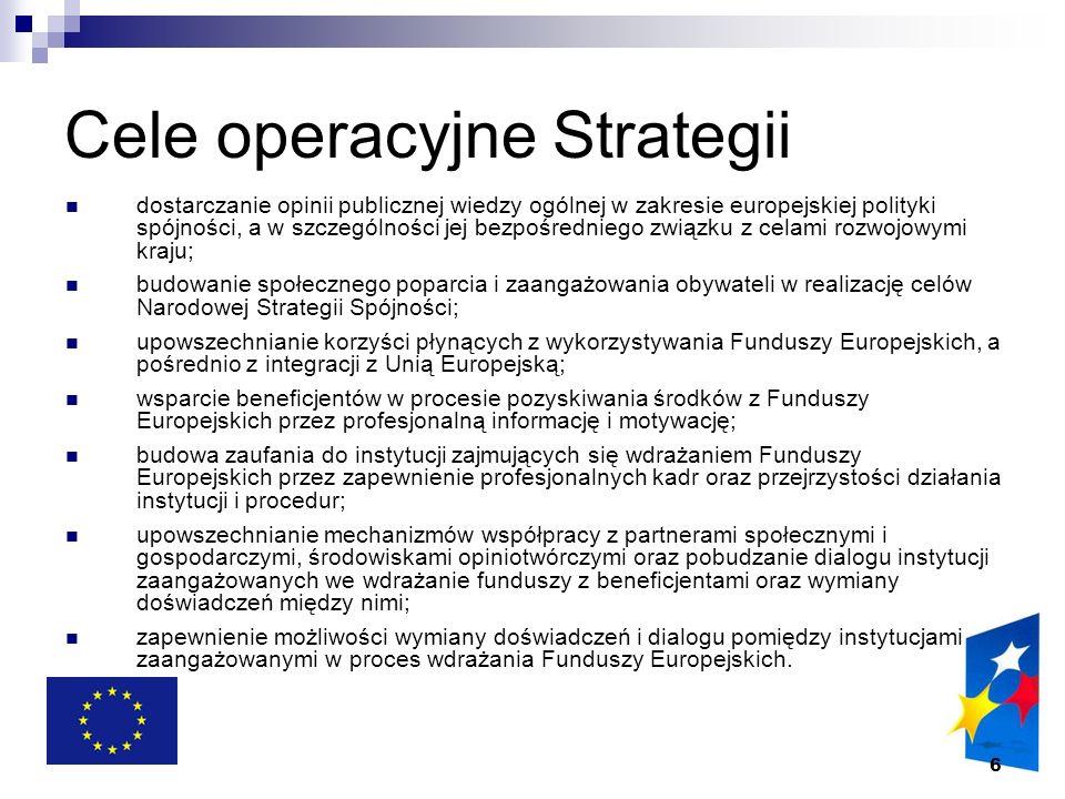 6 Cele operacyjne Strategii dostarczanie opinii publicznej wiedzy ogólnej w zakresie europejskiej polityki spójności, a w szczególności jej bezpośredn