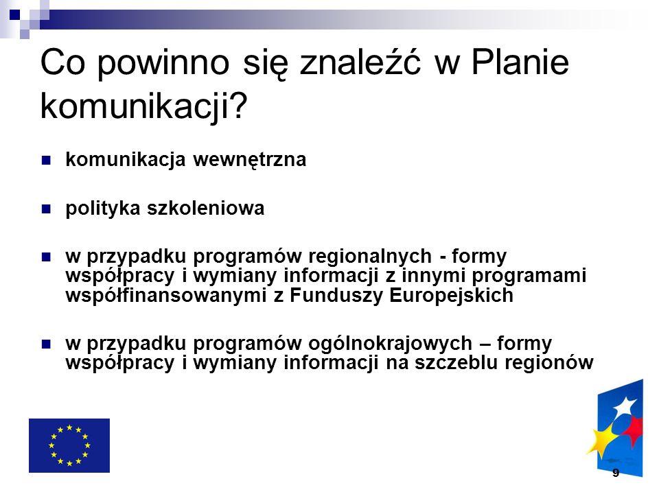 9 Co powinno się znaleźć w Planie komunikacji? komunikacja wewnętrzna polityka szkoleniowa w przypadku programów regionalnych - formy współpracy i wym
