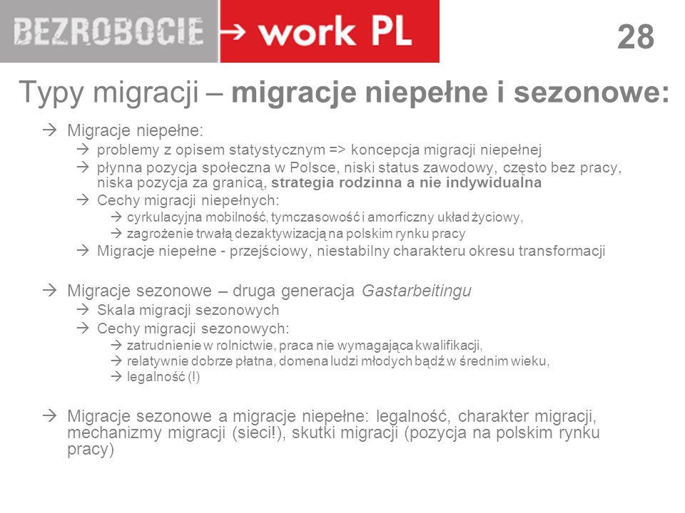 LUBLIN 28 Typy migracji – migracje niepełne i sezonowe: Migracje niepełne: problemy z opisem statystycznym => koncepcja migracji niepełnej płynna pozycja społeczna w Polsce, niski status zawodowy, często bez pracy, niska pozycja za granicą, strategia rodzinna a nie indywidualna Cechy migracji niepełnych: cyrkulacyjna mobilność, tymczasowość i amorficzny układ życiowy, zagrożenie trwałą dezaktywizacją na polskim rynku pracy Migracje niepełne - przejściowy, niestabilny charakteru okresu transformacji Migracje sezonowe – druga generacja Gastarbeitingu Skala migracji sezonowych Cechy migracji sezonowych: zatrudnienie w rolnictwie, praca nie wymagająca kwalifikacji, relatywnie dobrze płatna, domena ludzi młodych bądź w średnim wieku, legalność (!) Migracje sezonowe a migracje niepełne: legalność, charakter migracji, mechanizmy migracji (sieci!), skutki migracji (pozycja na polskim rynku pracy)