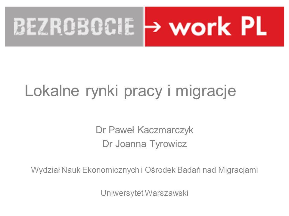 LUBLIN Lokalne rynki pracy i migracje Dr Paweł Kaczmarczyk Dr Joanna Tyrowicz Wydział Nauk Ekonomicznych i Ośrodek Badań nad Migracjami Uniwersytet Wa