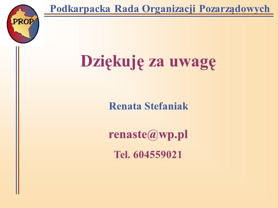 Podkarpacka Rada Organizacji Pozarządowych Dziękuję za uwagę Renata Stefaniak renaste@wp.pl Tel.