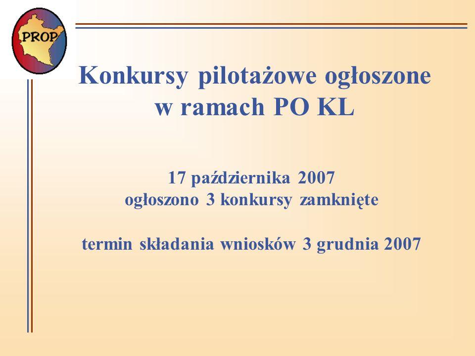 Konkursy pilotażowe ogłoszone w ramach PO KL 17 października 2007 ogłoszono 3 konkursy zamknięte termin składania wniosków 3 grudnia 2007