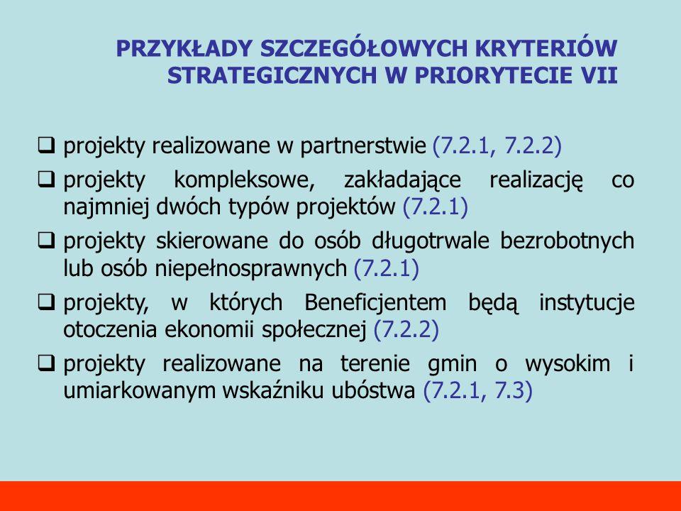 projekty realizowane w partnerstwie (7.2.1, 7.2.2) projekty kompleksowe, zakładające realizację co najmniej dwóch typów projektów (7.2.1) projekty skierowane do osób długotrwale bezrobotnych lub osób niepełnosprawnych (7.2.1) projekty, w których Beneficjentem będą instytucje otoczenia ekonomii społecznej (7.2.2) projekty realizowane na terenie gmin o wysokim i umiarkowanym wskaźniku ubóstwa (7.2.1, 7.3) PRZYKŁADY SZCZEGÓŁOWYCH KRYTERIÓW STRATEGICZNYCH W PRIORYTECIE VII