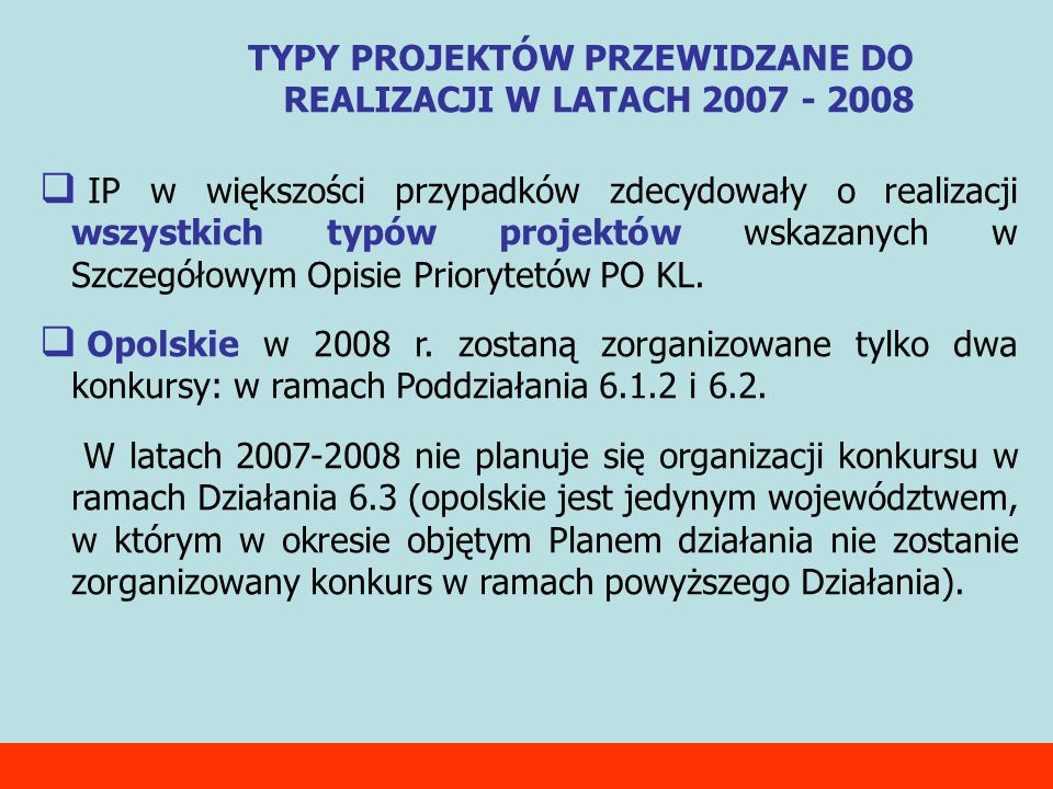 IP w większości przypadków zdecydowały o realizacji wszystkich typów projektów wskazanych w Szczegółowym Opisie Priorytetów PO KL. Opolskie w 2008 r.