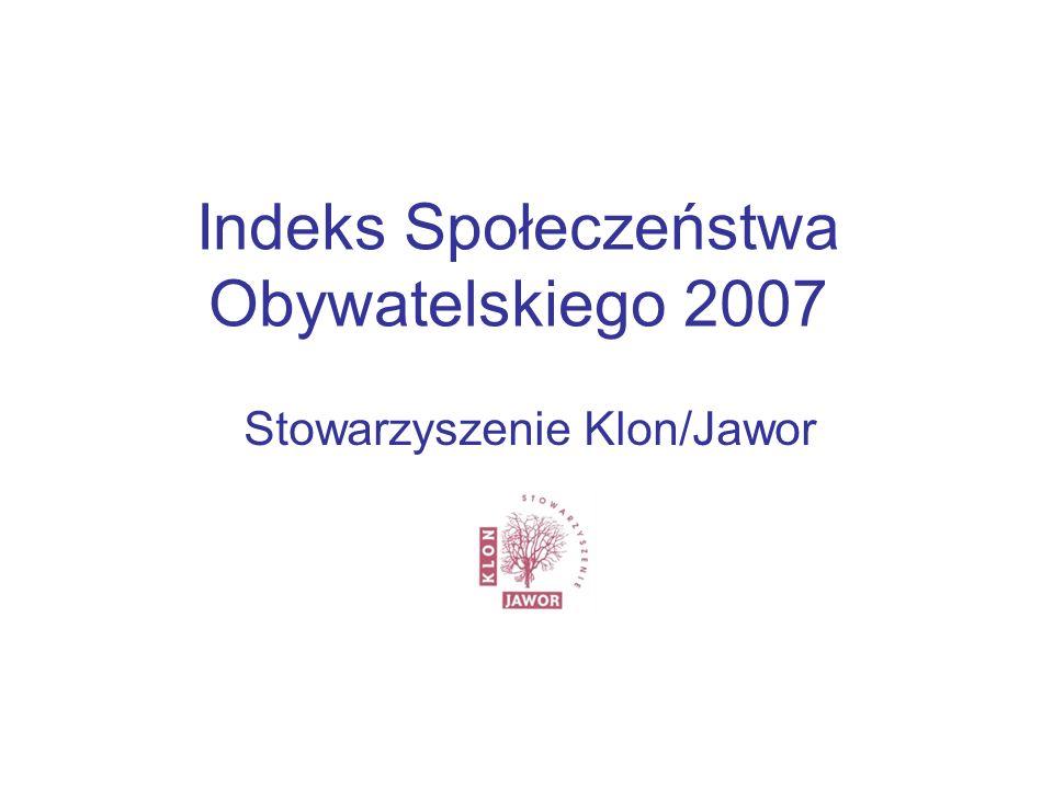 Indeks Społeczeństwa Obywatelskiego 2007 Stowarzyszenie Klon/Jawor