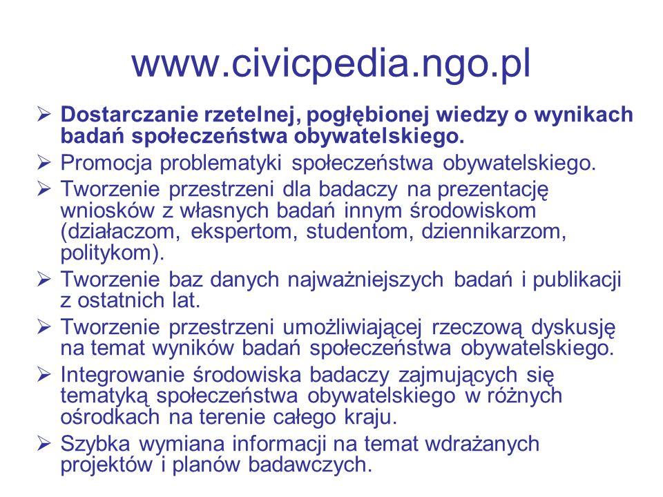 www.civicpedia.ngo.pl Dostarczanie rzetelnej, pogłębionej wiedzy o wynikach badań społeczeństwa obywatelskiego. Promocja problematyki społeczeństwa ob