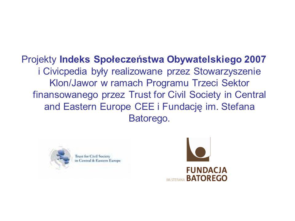 Projekty Indeks Społeczeństwa Obywatelskiego 2007 i Civicpedia były realizowane przez Stowarzyszenie Klon/Jawor w ramach Programu Trzeci Sektor finans