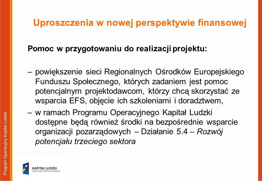 Uproszczenia w nowej perspektywie finansowej Pomoc w przygotowaniu do realizacji projektu: –powiększenie sieci Regionalnych Ośrodków Europejskiego Funduszu Społecznego, których zadaniem jest pomoc potencjalnym projektodawcom, którzy chcą skorzystać ze wsparcia EFS, objęcie ich szkoleniami i doradztwem, –w ramach Programu Operacyjnego Kapitał Ludzki dostępne będą również środki na bezpośrednie wsparcie organizacji pozarządowych – Działanie 5.4 – Rozwój potencjału trzeciego sektora