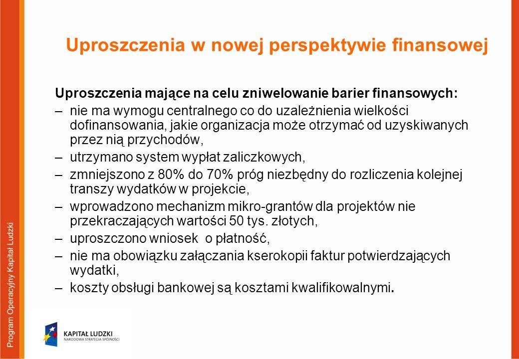 Uproszczenia w nowej perspektywie finansowej Uproszczenia mające na celu zniwelowanie barier finansowych: –nie ma wymogu centralnego co do uzależnienia wielkości dofinansowania, jakie organizacja może otrzymać od uzyskiwanych przez nią przychodów, –utrzymano system wypłat zaliczkowych, –zmniejszono z 80% do 70% próg niezbędny do rozliczenia kolejnej transzy wydatków w projekcie, –wprowadzono mechanizm mikro-grantów dla projektów nie przekraczających wartości 50 tys.