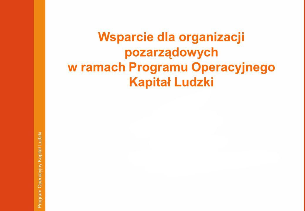 Wsparcie dla organizacji pozarządowych w ramach Programu Operacyjnego Kapitał Ludzki