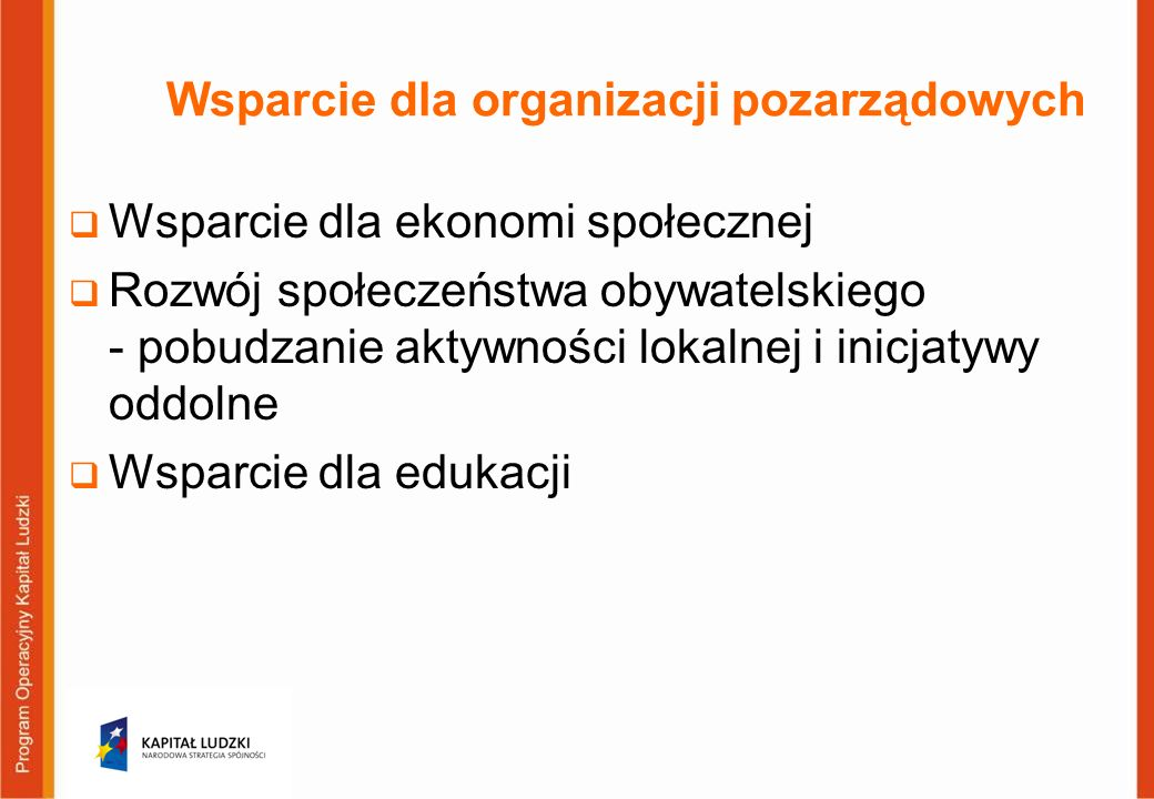 Wsparcie dla organizacji pozarządowych Wsparcie dla ekonomi społecznej Rozwój społeczeństwa obywatelskiego - pobudzanie aktywności lokalnej i inicjatywy oddolne Wsparcie dla edukacji