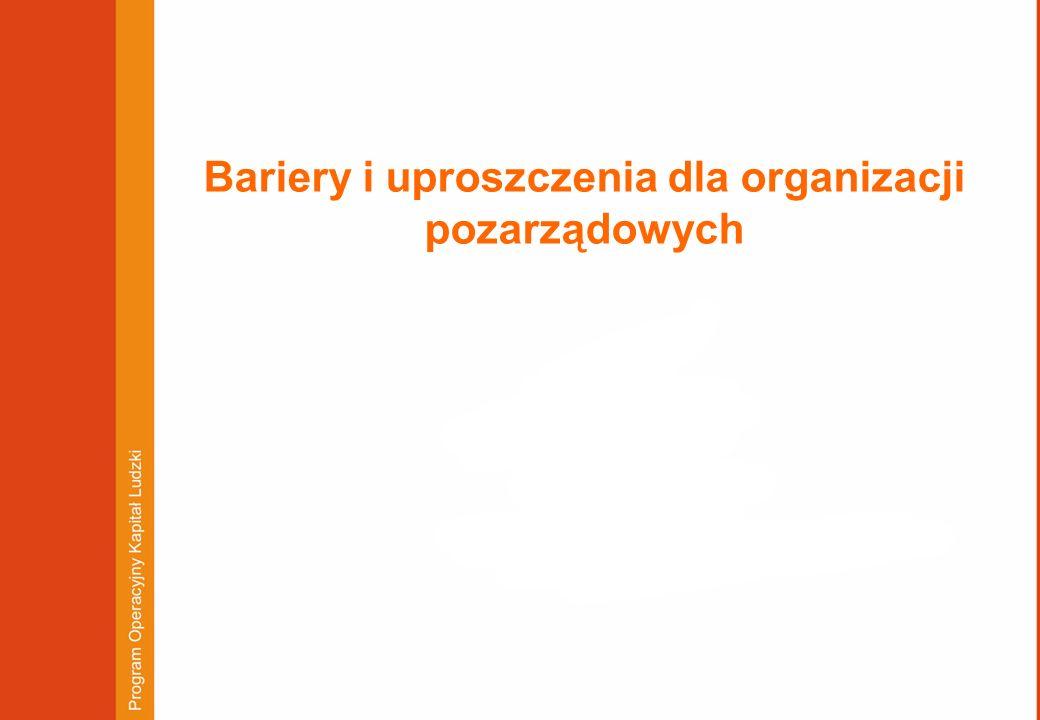 Bariery i uproszczenia dla organizacji pozarządowych