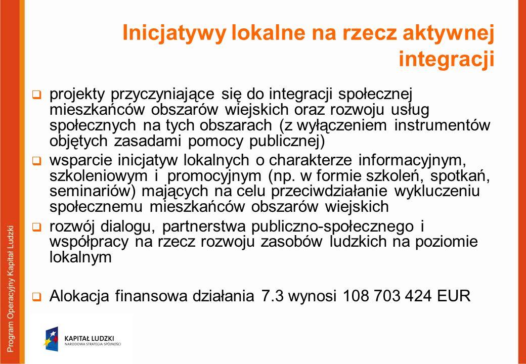 Inicjatywy lokalne na rzecz aktywnej integracji projekty przyczyniające się do integracji społecznej mieszkańców obszarów wiejskich oraz rozwoju usług społecznych na tych obszarach (z wyłączeniem instrumentów objętych zasadami pomocy publicznej) wsparcie inicjatyw lokalnych o charakterze informacyjnym, szkoleniowym i promocyjnym (np.