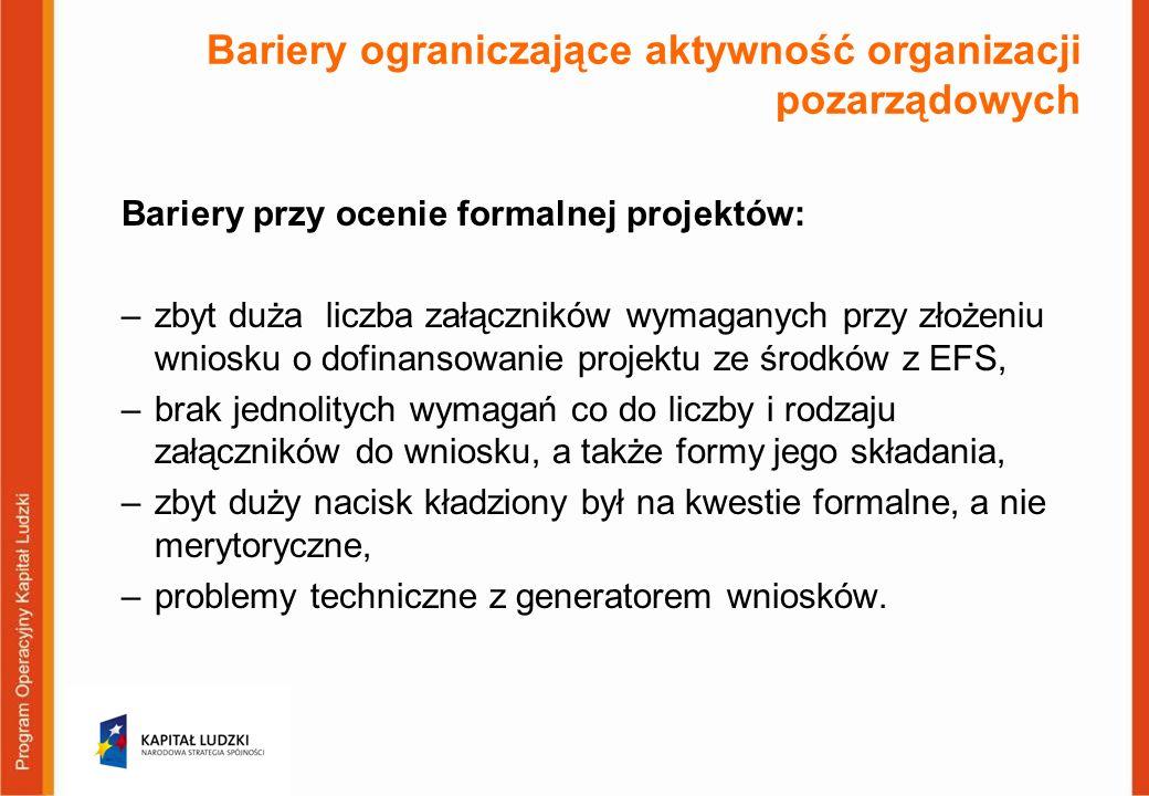 Bariery ograniczające aktywność organizacji pozarządowych Bariery przy ocenie formalnej projektów: –zbyt duża liczba załączników wymaganych przy złożeniu wniosku o dofinansowanie projektu ze środków z EFS, –brak jednolitych wymagań co do liczby i rodzaju załączników do wniosku, a także formy jego składania, –zbyt duży nacisk kładziony był na kwestie formalne, a nie merytoryczne, –problemy techniczne z generatorem wniosków.