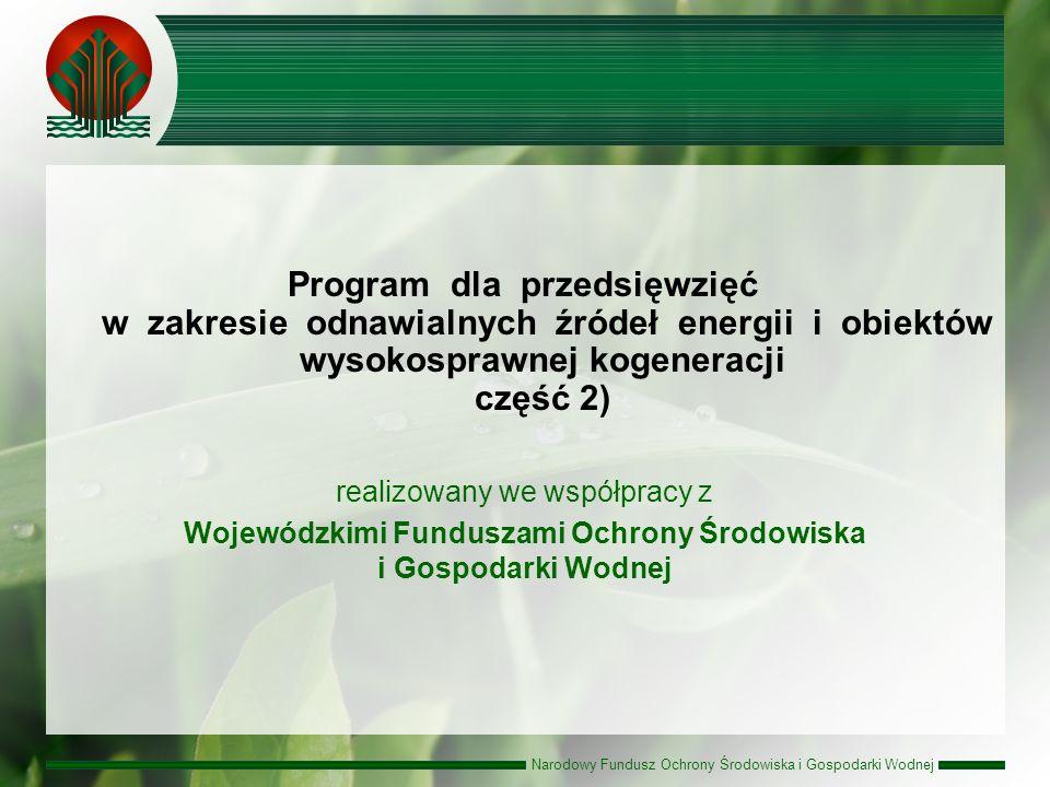 Narodowy Fundusz Ochrony Środowiska i Gospodarki Wodnej realizowany we współpracy z Wojewódzkimi Funduszami Ochrony Środowiska i Gospodarki Wodnej Program dla przedsięwzięć w zakresie odnawialnych źródeł energii i obiektów wysokosprawnej kogeneracji część 2)