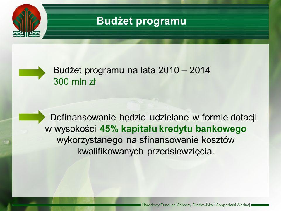 Narodowy Fundusz Ochrony Środowiska i Gospodarki Wodnej Budżet programu na lata 2010 – 2014 300 mln zł Dofinansowanie będzie udzielane w formie dotacji w wysokości 45% kapitału kredytu bankowego wykorzystanego na sfinansowanie kosztów kwalifikowanych przedsięwzięcia.