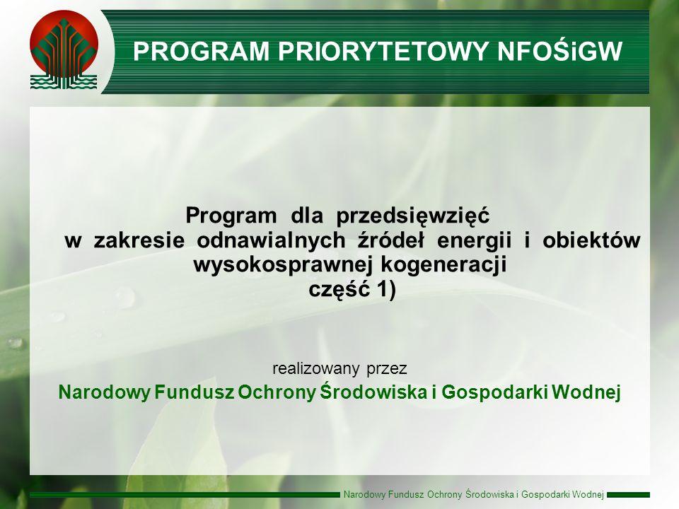 Narodowy Fundusz Ochrony Środowiska i Gospodarki Wodnej I konkurs zakończony ( lista wniosków zakwalifikowana do dofinansowania w formie pożyczki dotycząca przedsięwzięć z zakresu odnawialnych źródeł energii i wysokosprawnej kogeneracji - 7 projektów na kwotę 131 mln zł ) Aktualnie trwa ocena wniosków złożonych w II-gim Konkursie Planowany termin naboru dla III Konkursu od 1 do 15 czerwca 2010 roku Realizacja Programu OZE