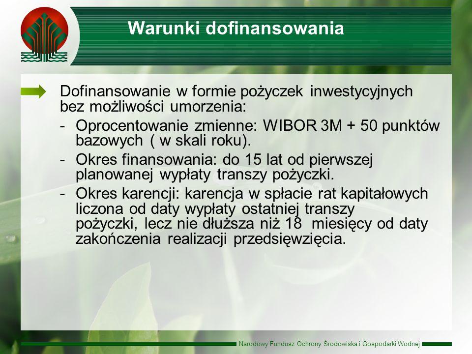 Narodowy Fundusz Ochrony Środowiska i Gospodarki Wodnej Warunki dofinansowania Dofinansowanie w formie pożyczek inwestycyjnych bez możliwości umorzenia: -Oprocentowanie zmienne: WIBOR 3M + 50 punktów bazowych ( w skali roku).