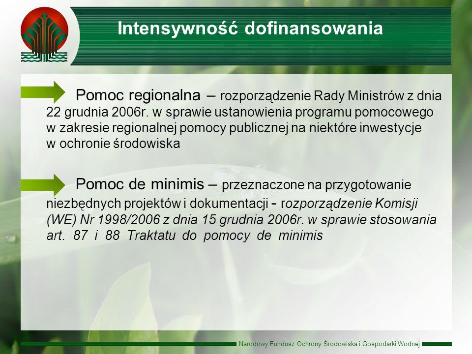 Narodowy Fundusz Ochrony Środowiska i Gospodarki Wodnej Intensywność dofinansowania Pomoc regionalna – rozporządzenie Rady Ministrów z dnia 22 grudnia 2006r.