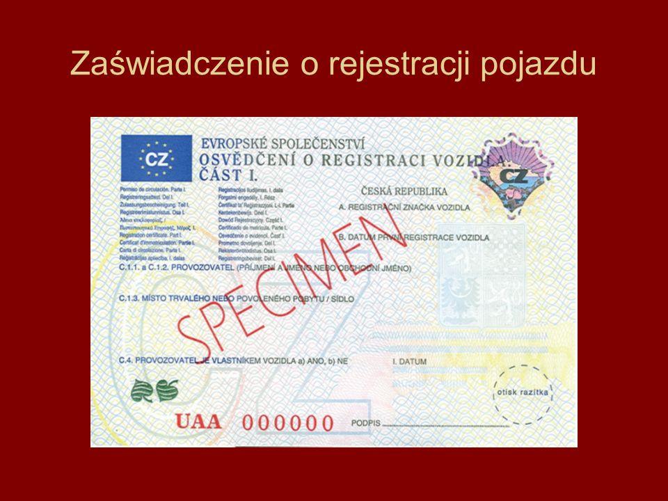 Zaświadczenie o rejestracji pojazdu