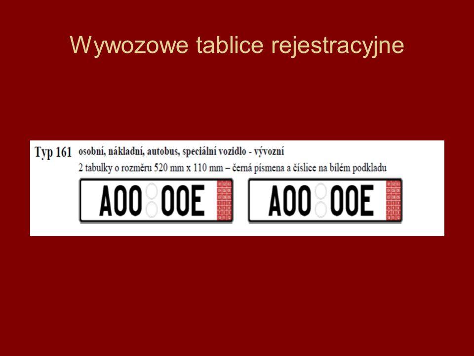 Wywozowe tablice rejestracyjne