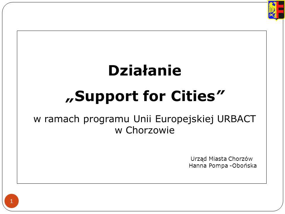 1 Działanie Support for Cities w ramach programu Unii Europejskiej URBACT w Chorzowie Urząd Miasta Chorzów Hanna Pompa -Obońska