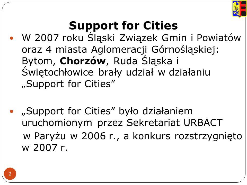 Support for Cities 2 W 2007 roku Śląski Związek Gmin i Powiatów oraz 4 miasta Aglomeracji Górnośląskiej: Bytom, Chorzów, Ruda Śląska i Świętochłowice brały udział w działaniu Support for Cities Support for Cities było działaniem uruchomionym przez Sekretariat URBACT w Paryżu w 2006 r., a konkurs rozstrzygnięto w 2007 r.