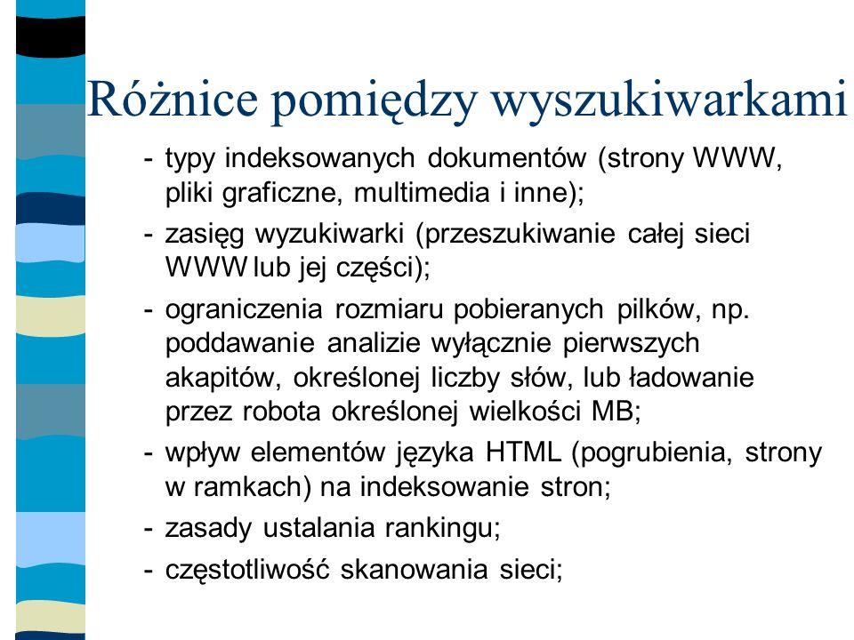Różnice pomiędzy wyszukiwarkami -typy indeksowanych dokumentów (strony WWW, pliki graficzne, multimedia i inne); -zasięg wyzukiwarki (przeszukiwanie całej sieci WWW lub jej części); -ograniczenia rozmiaru pobieranych pilków, np.
