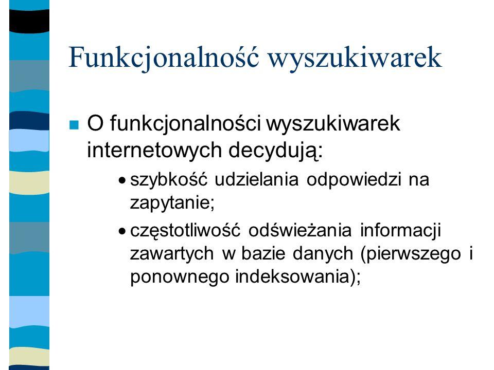 Funkcjonalność wyszukiwarek O funkcjonalności wyszukiwarek internetowych decydują: szybkość udzielania odpowiedzi na zapytanie; częstotliwość odświeżania informacji zawartych w bazie danych (pierwszego i ponownego indeksowania);