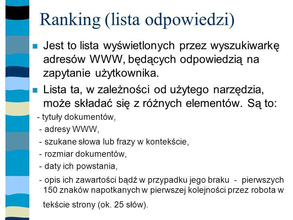 Ranking (lista odpowiedzi) Jest to lista wyświetlonych przez wyszukiwarkę adresów WWW, będących odpowiedzią na zapytanie użytkownika.