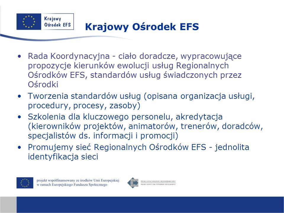 Krajowy Ośrodek EFS Rada Koordynacyjna - ciało doradcze, wypracowujące propozycje kierunków ewolucji usług Regionalnych Ośrodków EFS, standardów usług świadczonych przez Ośrodki Tworzenia standardów usług (opisana organizacja usługi, procedury, procesy, zasoby) Szkolenia dla kluczowego personelu, akredytacja (kierowników projektów, animatorów, trenerów, doradców, specjalistów ds.