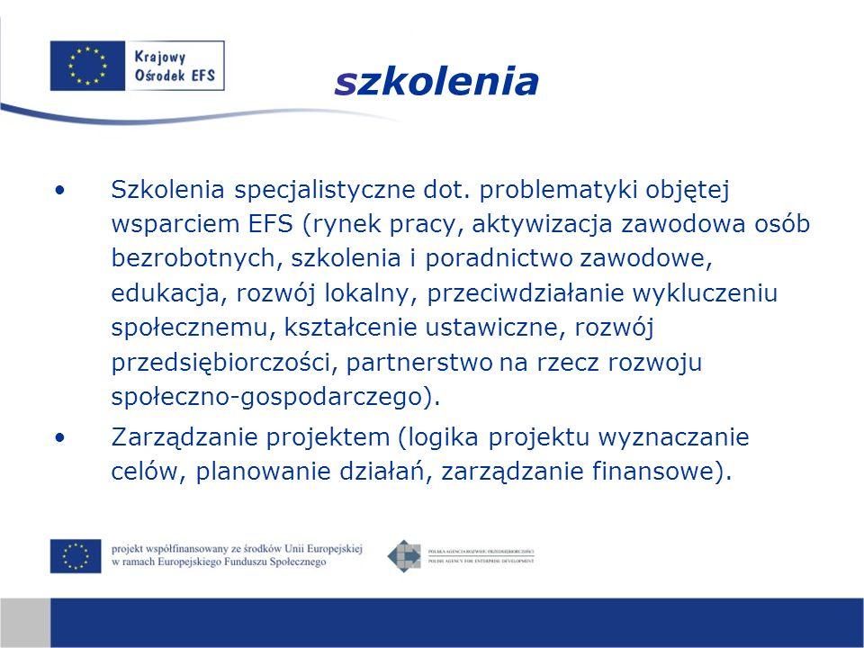 Szkolenia specjalistyczne dot. problematyki objętej wsparciem EFS (rynek pracy, aktywizacja zawodowa osób bezrobotnych, szkolenia i poradnictwo zawodo