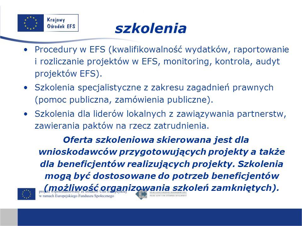 Procedury w EFS (kwalifikowalność wydatków, raportowanie i rozliczanie projektów w EFS, monitoring, kontrola, audyt projektów EFS). Szkolenia specjali