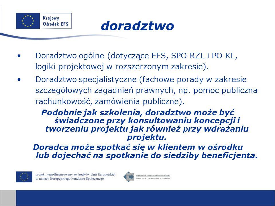 Doradztwo ogólne (dotyczące EFS, SPO RZL i PO KL, logiki projektowej w rozszerzonym zakresie). Doradztwo specjalistyczne (fachowe porady w zakresie sz