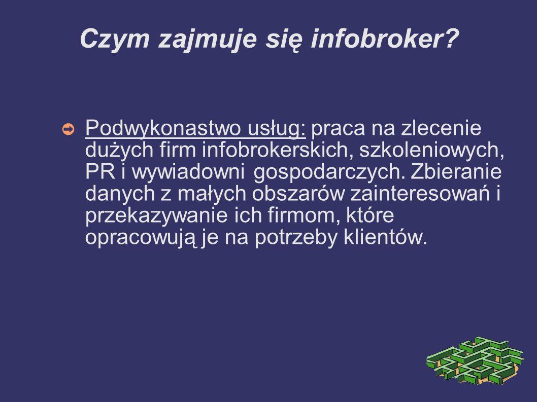 Czym zajmuje się infobroker? Podwykonastwo usług: praca na zlecenie dużych firm infobrokerskich, szkoleniowych, PR i wywiadowni gospodarczych. Zbieran